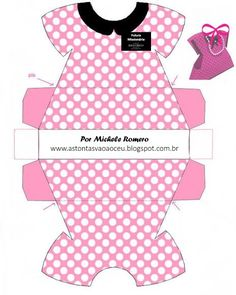 robe_de_minnie_rosejpg - link to French site with lots of Minnie & Mickey party printables Minnie Baby, Minnie Mouse Party, Printable Box, Printables, Paper Toys, Paper Crafts, Paper Box Template, Paper Purse, Baby Shower