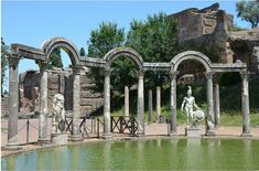 Hadrian's Villa near Tivoli, Italy, is an opulent, sprawling garden-villa covering some 120 hectares (296 acres). It was built by Emperor Hadrian (76-138 CE) between 125-134 CE for use as his country estate, although the land may have originally belonged to his wife, Vibia Sabina (m. 100-136 CE). Ancient Rome, Ancient History, Roman Garden, History Encyclopedia, Garden Villa, Art Antique, Site Visit, Roman Empire, World Heritage Sites