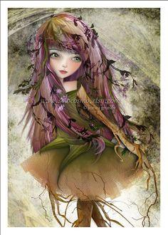 "Woodland Fairy Fantasy Art Print ""Roots"" Small Premium Hahnemuhle Giclee Fine Art Print Purple and Green Nature Pixie Woodland Fairy, Pop Surrealism, Mythical Creatures, Vampires, Faeries, Nursery Art, Dark Art, Pin Up, Fantasy Art"