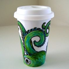 Green Octopus Ceramic Travel Mug Eco Friendly Tumbler sea creature hand painted tentacles kraken nautical - MADE TO ORDER