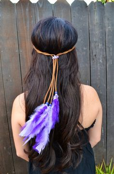 Unique Leather Headband With Beautiful Purple Feathers And Matching Beads. The Perfect Accessory To Complete Your Look. Adjustable To Every Head Size. Ready To Ship. For Custom Orders Please Contact U