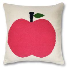 Jonathan Adler Pink Apple Pillow in Wool Fruit Pillows