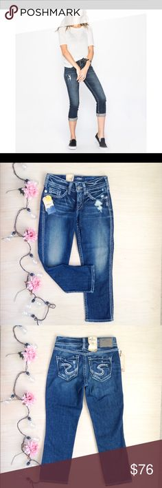 💙SILVER JEANS SUKI CAPRI💙 NWT dark wash indigo distressed Capri jeans. Mid rise perfectly curvy fit. Silver Jeans Jeans Ankle & Cropped