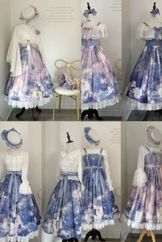 Anime Outfits, Dress Outfits, Fashion Outfits, Pretty Outfits, Pretty Dresses, Lolita Mode, Clothing Sketches, Anime Dress, Fantasy Dress