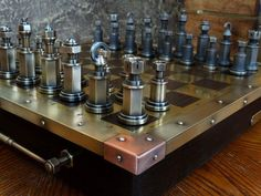 Handmade Steampunk Chess Set made of copper, brass and bronze https://goo.gl/01EPlJ