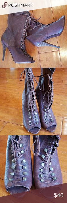 NWOT-GUESS BRWN FAUX LEATHER LACE UP OPEN TOE BOOT NWOT-GUESS BROWN FAUX LEATHER LACE UP OPEN TOE BOOTS.  Size 8.5 Guess Shoes Heeled Boots