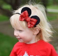 Minnie Ears Headband, Mickey Ears Headband, Mouse Headband, Disney Bow, Disney Headband, Disney trip, Minnie Party, Sequin Bow, Felt Bow  Bow  made from red sequin fabric Ears   made from 100% black wool felt  Bow measures approx 3 X 2.5  choose style: attached to alligator clip or black nylon (one size headband)