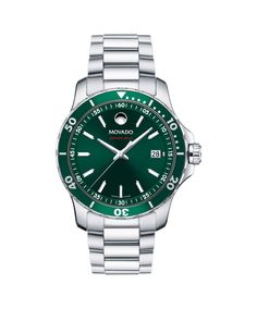 Movado Gents Stainless Steel Series 800 W/ Green Dial And Green Bezel Style# 2600136 Movado Mens Watches, Watches For Men, Bangle Bracelets, Bangles, Fashion Rings, Omega Watch, Gemstone Jewelry, Jewelry Collection, Wedding Bands