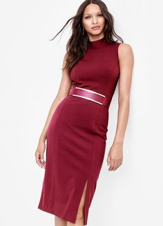 Made from our iconic stretch ponte, this knit sheath dress features a fall-ready wine color and an edgy exposed back zipper. | White House Black Market