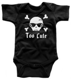 Too Cute - Punk Rockabilly Baby Skull and Crossbones with Cool Sunglasses on a Rockstar Black Onesie / Infant Bodysuit / Cool Baby Outfit