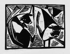 Linoprint, Monochrom, Ex Libris, Cattle, Printmaking, Illustration, Batman, Carving, Birds