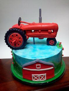 Farmall Tractor cake - Sculpted fondant tractor.