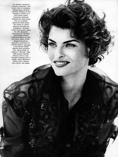 "Vogue US October 1990 ""Ava Gardner"" Model: Linda Evangelista Ph: Peter Lindbergh Fashion Editor: Jenny Capitain Hair: Ward Makeup: Stephane Marais Short Curly Haircuts, Curly Hair Cuts, Curly Hair Styles, Peter Lindbergh, Linda Evangelista, Corporate Women, Vogue Us, Most Beautiful Faces, Bad Hair"