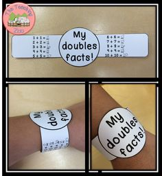 Doubles Facts Math Fun Learning Bracelets by The Teaching Zoo Math Doubles, Doubles Facts, Math Resources, Math Activities, Math Addition, Doubles Addition, Addition Games, Second Grade Math, Grade 1