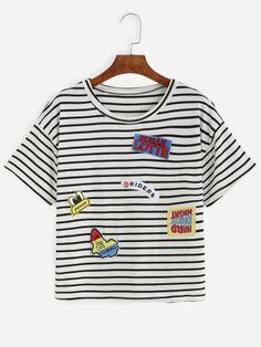 Camiseta rayas bordada parche - negro blanco