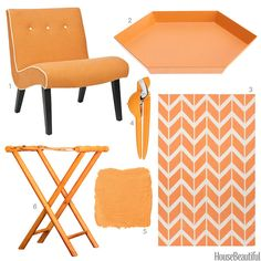 A chair, a tray, a luggage rack, and more finds in creamsicle.