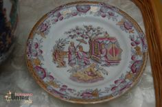 Vintage Chinoiserie Ironstone Plate in Pink & by PursuingVintage1, $25.00