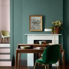 This deep green paint has haute couture tones of teal and grey, inspired by European runway collections. Browse our full range of luxury green paint online. French Interior, Interior Walls, Living Room Interior, Home Living Room, Interior And Exterior, Interior Design, British Paints, Milan, Traditional Paint
