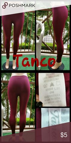 Burgundy leggings Soft and comfy fit Fits XS/S No trades No flaws Worn once Price firm tanco Pants Leggings