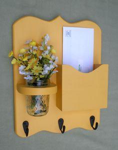 Mail Organizer - Letter Holder - Mail Holder - Key Hooks - Key Rack - Jar Vase - Organizer by LegacyStudio on Etsy Mail And Key Holder, Mail Holder, Key Holders, Wood Crafts, Diy And Crafts, Home Projects, Projects To Try, Diys, Mason Jar Vases