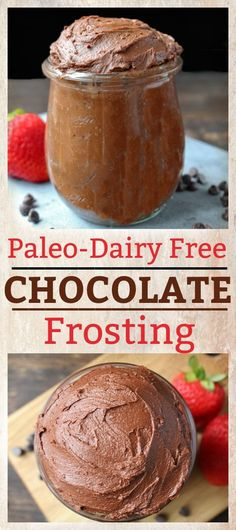 This Paleo Chocolate Frosting is super easy to make, and so rich and creamy. Only 5 ingredients, dairy free and so delicious! Spread it on cakes, cookies, cupcakes, or eat it with a spoon.