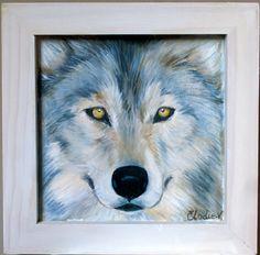 Tableau peint à l'acrylique : Portrait d'un loup au pelage argenté : Peintures par elo-dis-elo