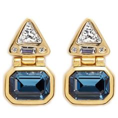 Kenneth Jay Lane Glass stone gold plated hinged drop earrings ($215) ❤ liked on Polyvore featuring jewelry, earrings, hinged earrings, navy blue earrings, emerald cut earrings, clear stud earrings and gold plated stud earrings