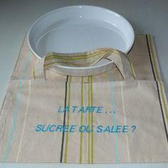 Sac a tarte brodé pour plat de 28/ 30 cm
