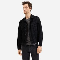 An iconic layer—to live in year-round. We start with a milled-in-Japan oz denim and garment-wash each jacket for a one-of-a-kind look. Wear it every day for a patina that's even more your own. Denim Jacket Men, Leather Jacket, Modern Essentials, Black Denim, Men's Denim, Wearing Black, Menswear, Mens Fashion, How To Wear