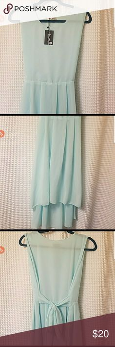 Gorgeous New Baby Blue High/Low Dress. Brand new baby blue, silky, high/low dress that ties in the back. Fully lined. Boutique Dresses High Low