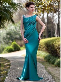 Etui-Linie Schulterfrei Sweep Zug Charmeuse Kleid für die Brautmutter mit Rüschen Perlen Pailletten