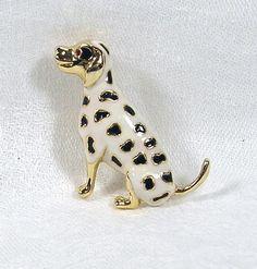 Vintage Brooch Enamel Dalmatian Dog Black and White by blisstiques, $12.50