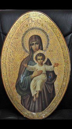 Russian Art Nouveau in icon painting Religious Images, Religious Icons, Religious Art, Blessed Mother Mary, Blessed Virgin Mary, Russian Icons, Russian Art, Christian Artwork, Sainte Marie