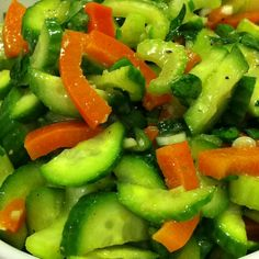Moroccan Salad (cukes, celery, parsley, bell pepper, garlic, green onion, cumin, Dijon mustard, vinegar, olive oil, salt & pepper)