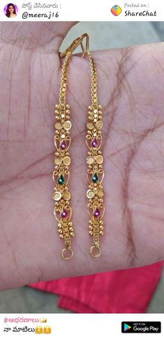 How Make Gold Jewelry Gold Jhumka Earrings, Jewelry Design Earrings, Gold Earrings Designs, Gold Jewellery Design, Gold Wedding Jewelry, Gold Jewelry, Jewelry Shop, Ear Chain, Gold Mangalsutra Designs