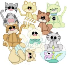 Cat Collection SVG,WPC,GSD,DXF,AI and JPEG for hand cutting