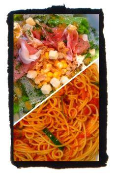 夕ご飯:ナポレターナ(ピーマン、トマト缶、オーガニック パスタソース ナポレターナ)、春雨サラダ(レタス、キュウリ、フライドオニオン、クルトン、春雨、パセリ、コーン)。