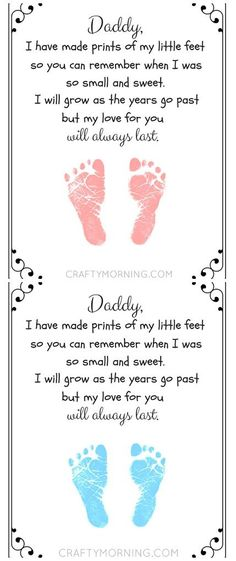 Free printable Father's day footprint poem from the kids! So adorable. perfect fathers day gift, first fathers day gift ideas from daughter baby, church fathers day gifts printable Father's day footprint poem from the kids! So adorable. Fathers Day Poems, Fathers Day Crafts, Happy Fathers Day, Daddy Gifts, Gifts For Husband, Grandpa Gifts, Baby Crafts, Toddler Crafts, Diy Father's Day Gifts From Toddler