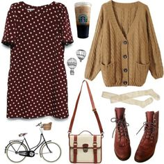 babydoll dress and cardigan with boots