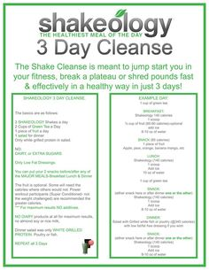 If you have overindulged and want a SAFE 3 day cleanse to have a fresh start on a new healthy journey, try this cleanse. Choose a flavor you like..chocolate, vanilla, strawberry or greenberry. Place your order, run to the grocery store for fruits, veggies and almond milk and you are set. danaboarmanfitness.com