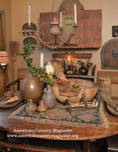A Primitive, Early American & Country Magazine filled with inspiration for decorating. Primitive Living Room, Primitive Country Homes, Primitive Kitchen, Primitive Furniture, Primitive Crafts, Kitchen Country, Prim Decor, Country Decor, Rustic Decor
