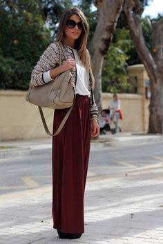 Tweed burgundy maxi skirt