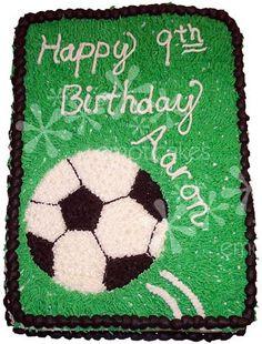 Soccer ball cake - 1/2 sheet Birthday Cake from Emoticakes.com (white cake, vanilla mousse frosting)