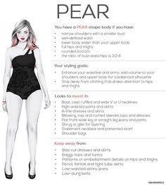 Advice for Women with Pear-Shaped Figure   The most common body shape for all women around the world is the pear shape. To know if you have a pear shaped body, just look at yourself in the mirror and see if the widest part of the body is
