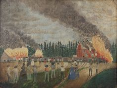 """This painting is one a pair that Zacharie Vincent created to immortalize a tragic event that shook the community. Zacharie Vincent, """"Fire at the Paper Mill in Lorette,"""" c. 1862, Musée de la civilisation."""