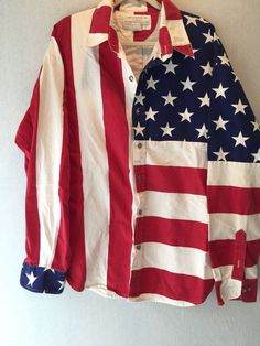 LIMITED EDITION American Flag 100% cotton Made in the USA long sleeve shirt XL #LimitedEditionInc #ButtonFront