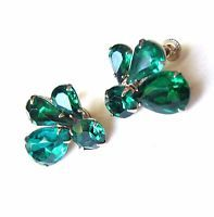 Vintage Rhinestone Earrings Green Glass Faceted Screw Back On Silver Tone