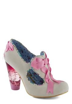 What Really Makes You Romantic Heel by Irregular Choice - Cream, Pink, Solid, Bows, Cutout, Trim, Mid, Party, Girls Night Out, Fairytale, Daytime Party
