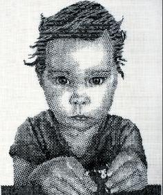 Zoe a blackwork portrait by Iogha.