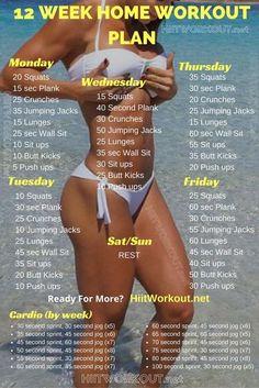 12 week home workout plan